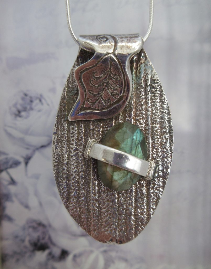 Silver Laborite Leaf Pendant by Indigo Berry Jewellery from the Isle of Skye in Scotland