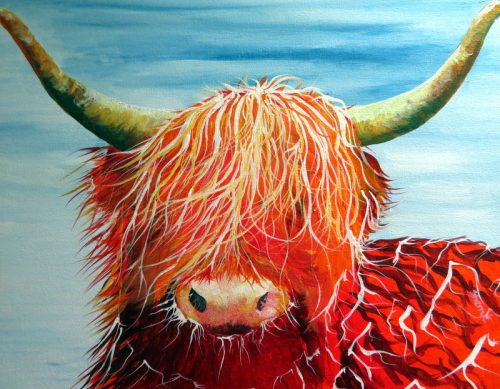 Sherryl Todd artist Highland cow painting