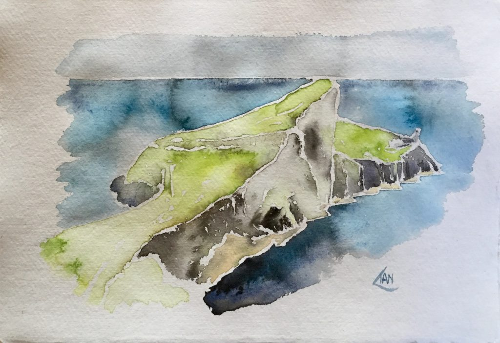 Ian Williams watercolour painting of Neist Point